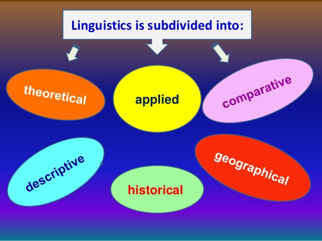 Linguistics is subdivided into:           applied          historical
