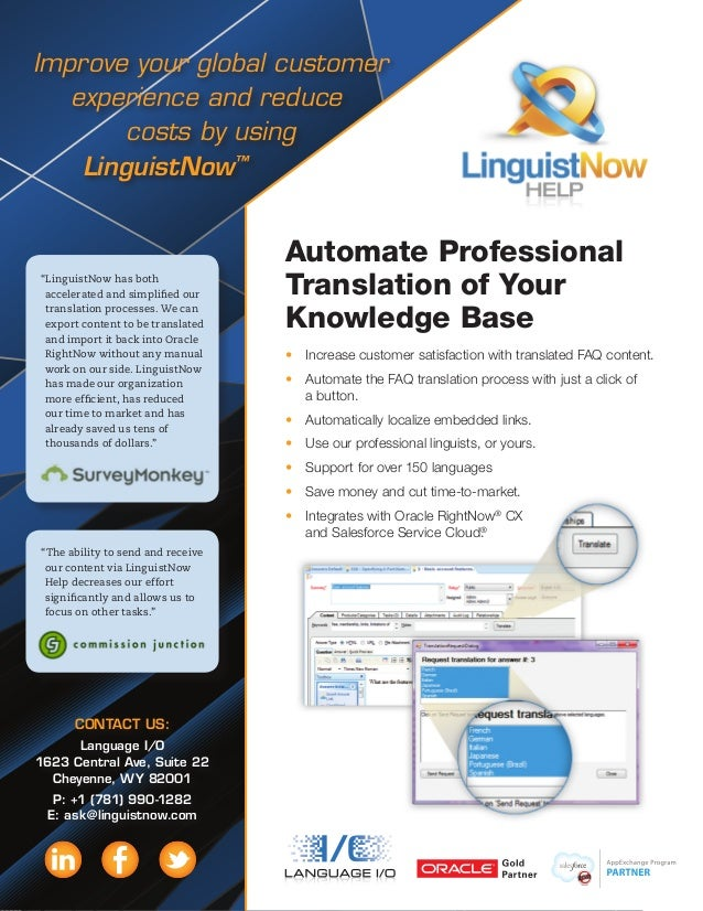 Improve your global customer experience and reduce costs by using LinguistNow™ Automate Professional Translation of Your K...