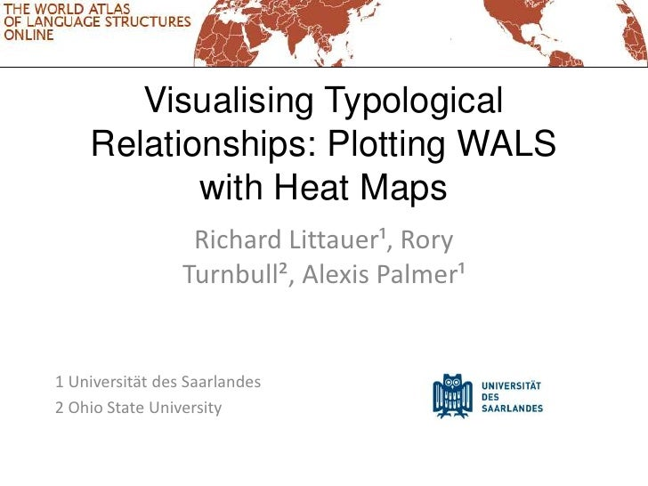 Visualising Typological    Relationships: Plotting WALS           with Heat Maps                  Richard Littauer¹, Rory ...