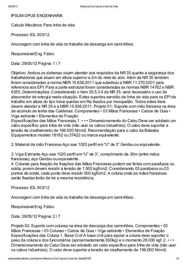 20/03/13                                                      Memorai De Calculo Linha De Vida  IPSUM OPUS ENGENHARIA  Cal...