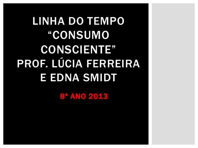 """LINHA DO TEMPO """"CONSUMO CONSCIENTE"""" PROF. LÚCIA FERREIRA E EDNA SMIDT 8º ANO 2013"""