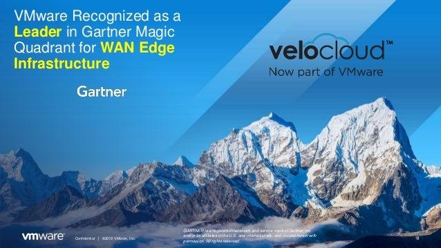 Confidential │ ©2019 VMware, Inc. 1 VMware Recognized as a Leader in Gartner Magic Quadrant for WAN Edge Infrastructure GA...