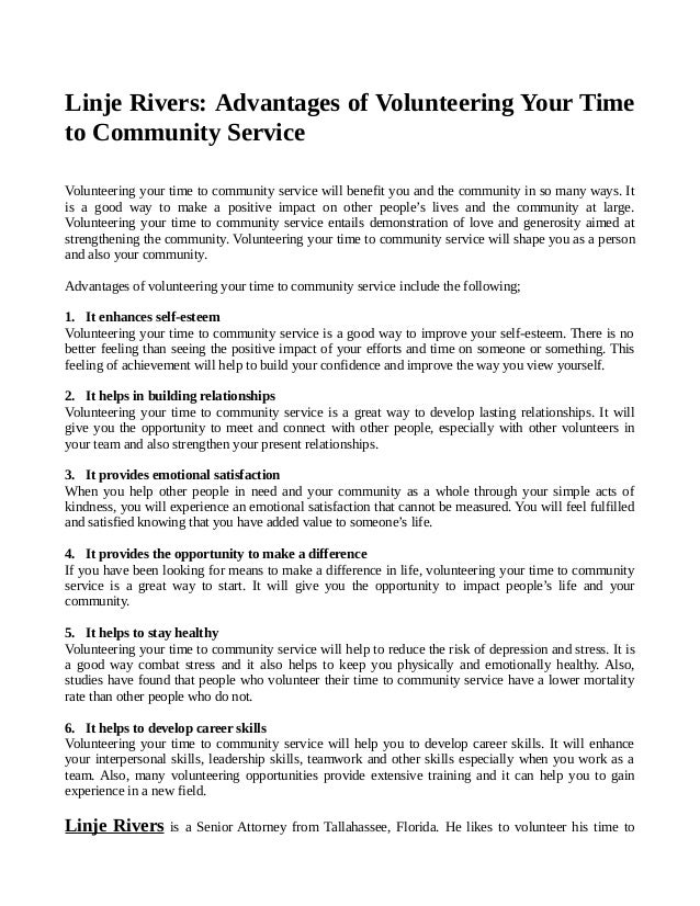 ec1afc65cf1 Linje Rivers - Advantages of Volunteering Your Time to Community Service