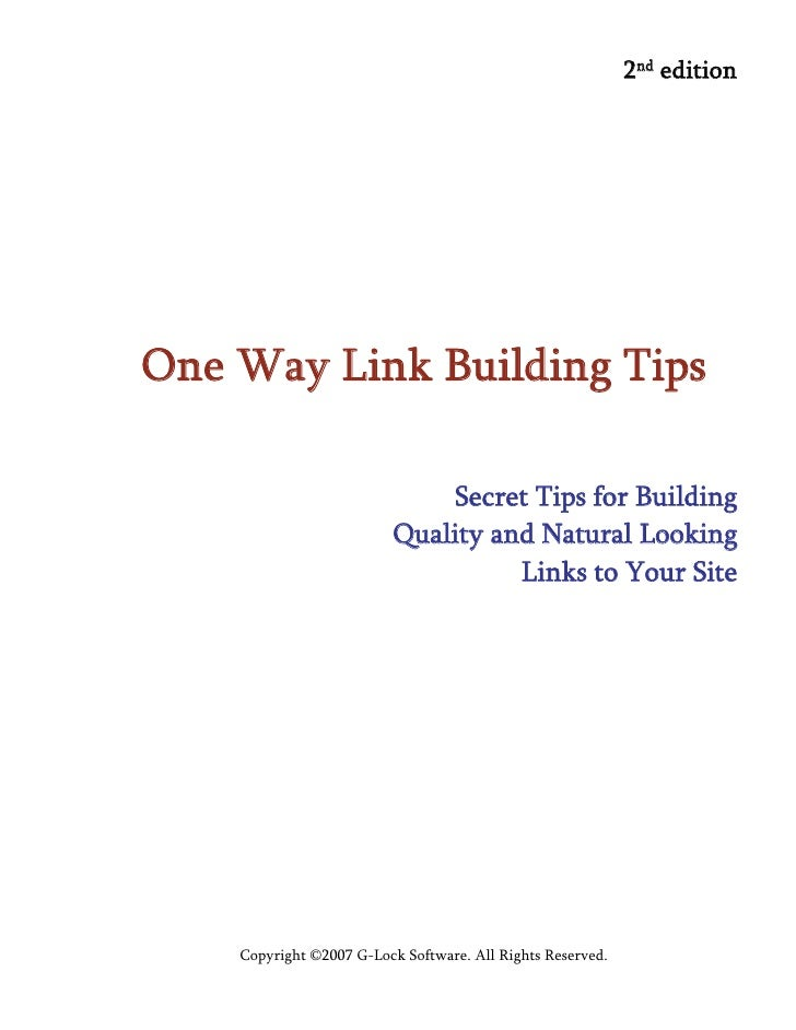 2nd edition     One Way Link Building Tips                                Secret Tips for Building                        ...