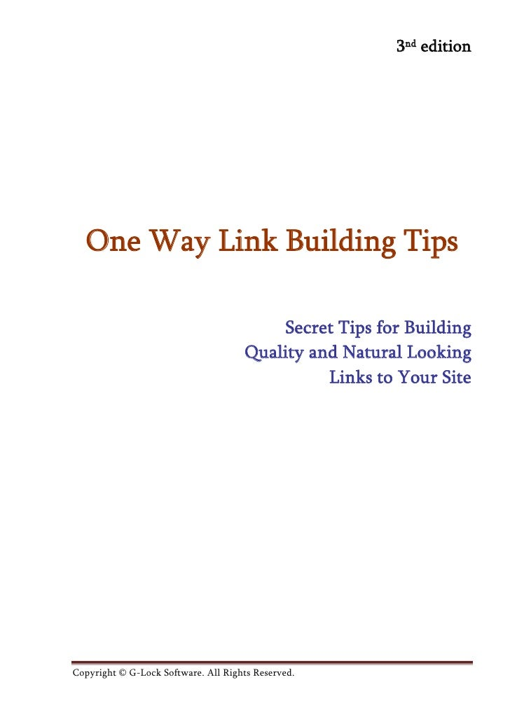 3nd edition  One Way Link Building Tips                                          Secret Tips for Building                 ...