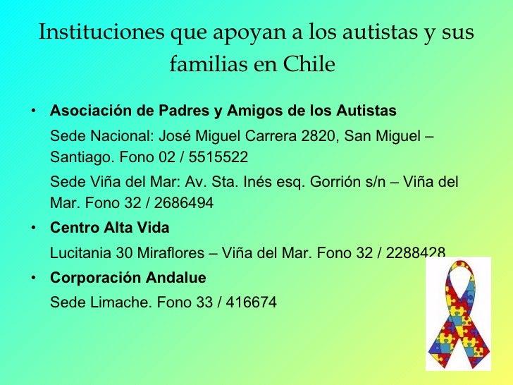 Instituciones que apoyan a los autistas y sus familias en Chile   <ul><li>Asociación de Padres y Amigos de los Autistas </...