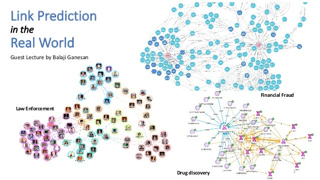 Link Prediction in the Real World 2 Law Enforcement Financial Fraud Drug discovery Guest Lecture by Balaji Ganesan