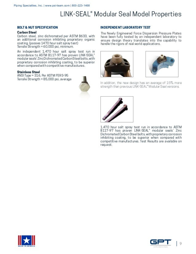 Link-Seal Modular Seals, Century-Line Sleeves, Cell-Cast