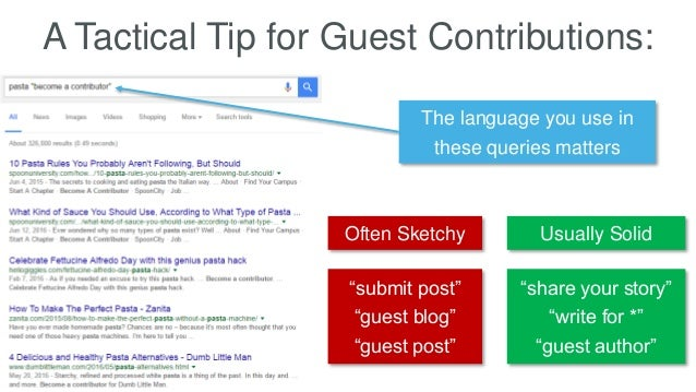 "A Tactical Tip for Guest Contributions: The language you use in these queries matters ""submit post"" ""guest blog"" ""guest po..."