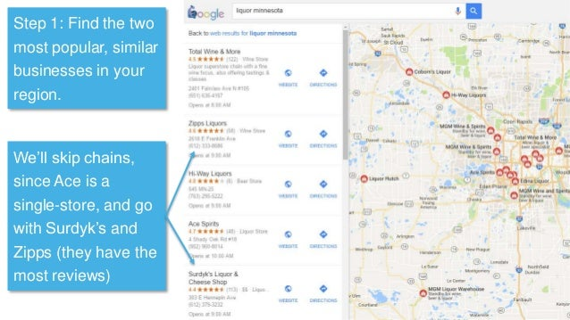 Step 1: Find the two most popular, similar businesses in your region. We'll skip chains, since Ace is a single-store, and ...
