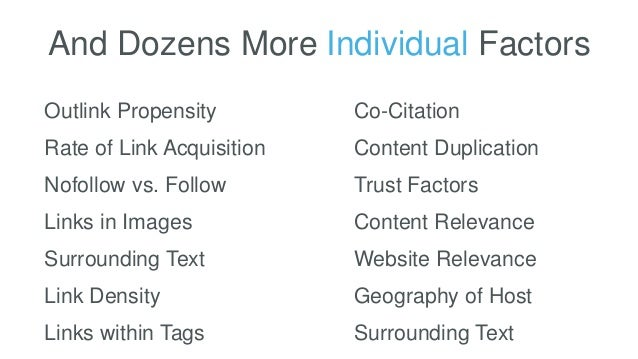 And Dozens More Individual Factors Outlink Propensity Rate of Link Acquisition Nofollow vs. Follow Links in Images Link De...