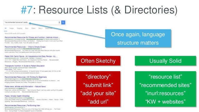 "#7: Resource Lists (& Directories) Once again, language structure matters ""directory"" ""submit link"" ""add your site"" ""add u..."