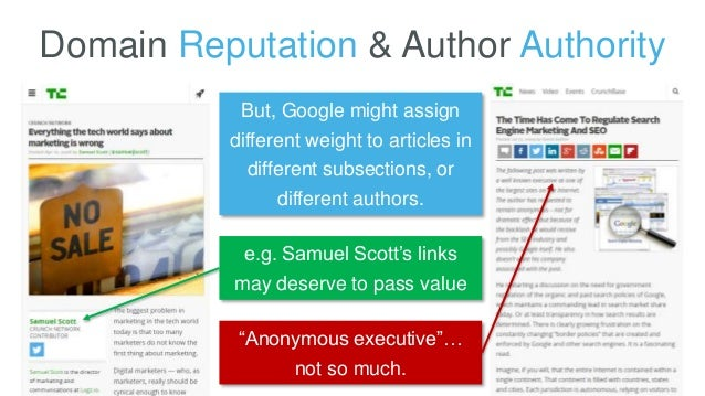 Domain Reputation & Author Authority But, Google might assign different weight to articles in different subsections, or di...