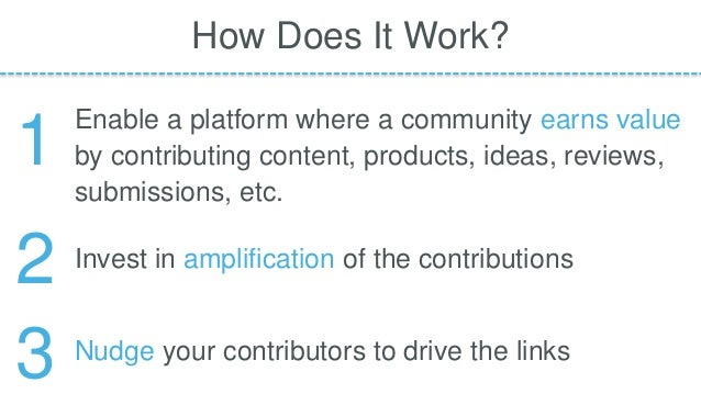 Enable a platform where a community earns value by contributing content, products, ideas, reviews, submissions, etc. How D...