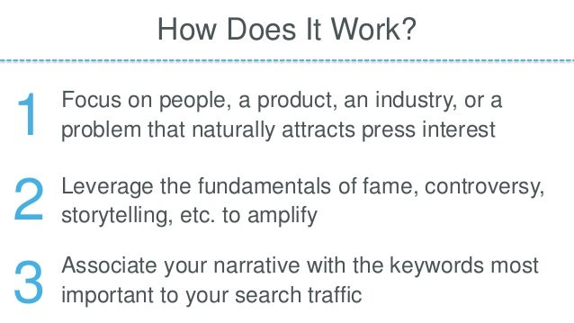 Focus on people, a product, an industry, or a problem that naturally attracts press interest How Does It Work? Leverage th...