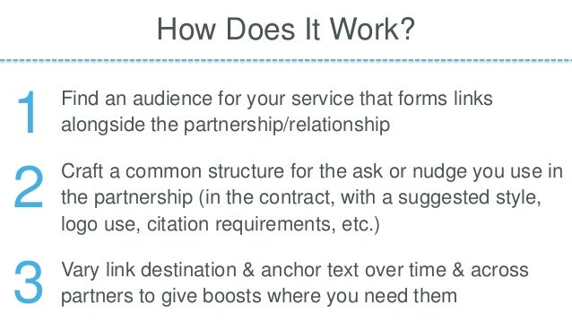Find an audience for your service that forms links alongside the partnership/relationship How Does It Work? Craft a common...