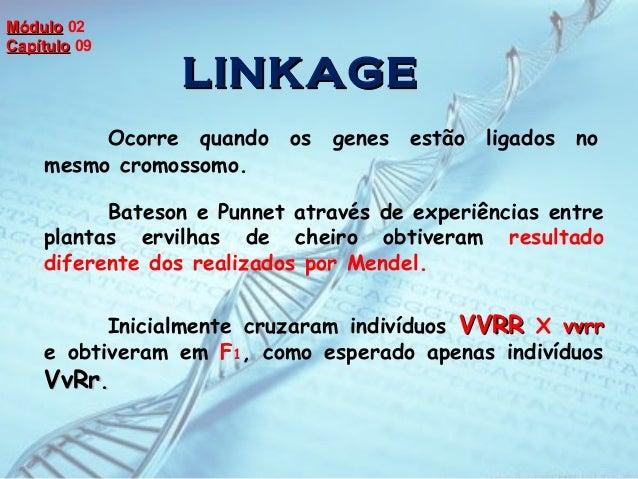 LINKAGELINKAGE Ocorre quando os genes estão ligados no mesmo cromossomo. Bateson e Punnet através de experiências entre pl...