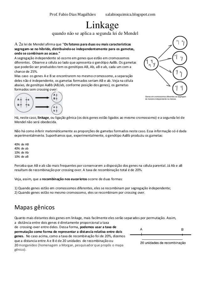 Prof.  Fabio  Dias  Magalhães  salabioquimica.blogspot.com  Linkage  quando não se aplica a segunda lei de Mendel  A 2a  l...
