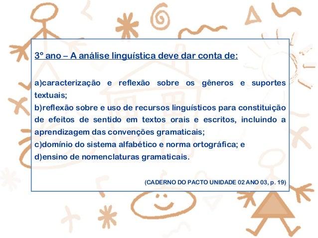 3º ano – A análise linguística deve dar conta de: a)caracterização e reflexão sobre os gêneros e suportes textuais; b)refl...
