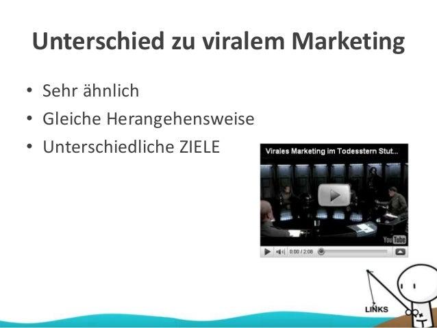 Unterschied zu viralem Marketing • Sehr ähnlich • Gleiche Herangehensweise • Unterschiedliche ZIELE