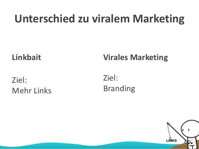 Unterschied zu viralem Marketing Linkbait Ziel: Mehr Links Virales Marketing Ziel: Branding