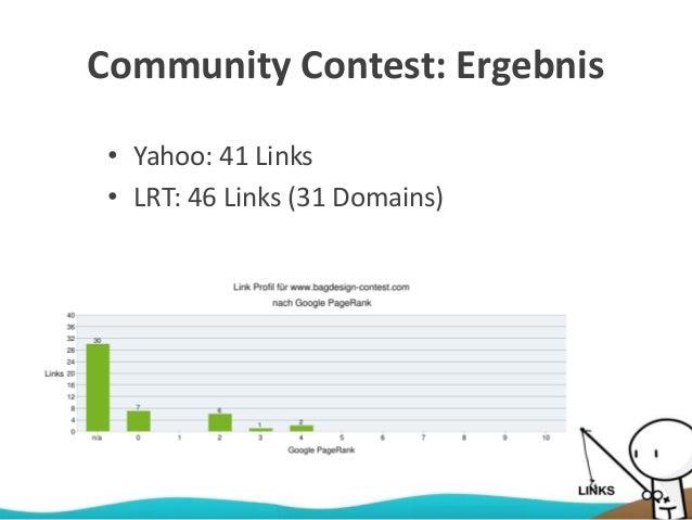 Community Contest: Ergebnis • Yahoo: 41 Links • LRT: 46 Links (31 Domains)