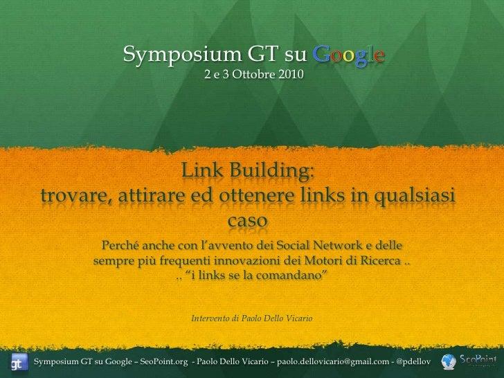 Link Building: Strategie e Tools - Intervento al Symposium GT