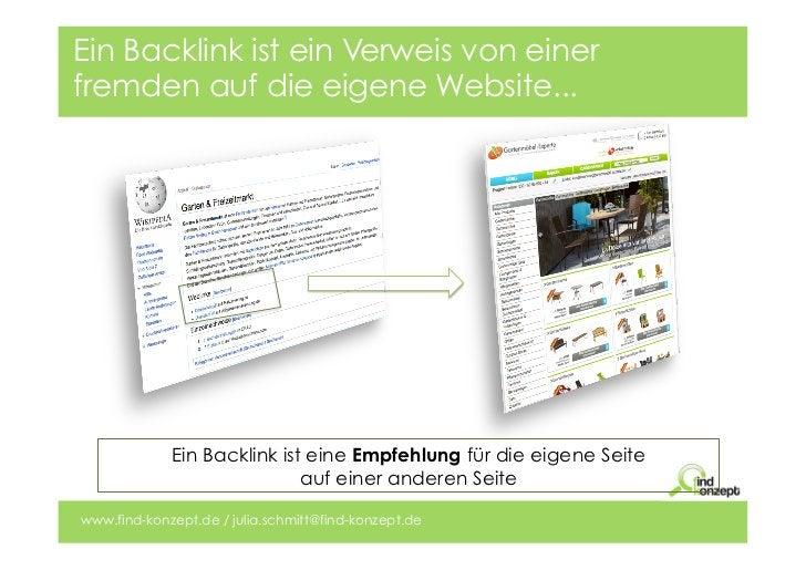 Ein Backlink ist ein Verweis von einerfremden auf die eigene Website...             Ein Backlink ist eine Empfehlung für d...