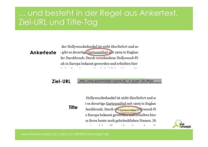 ... und besteht in der Regel aus Ankertext,Ziel-URL und Title-Tag     Ankertexte                  Ziel-URL                ...