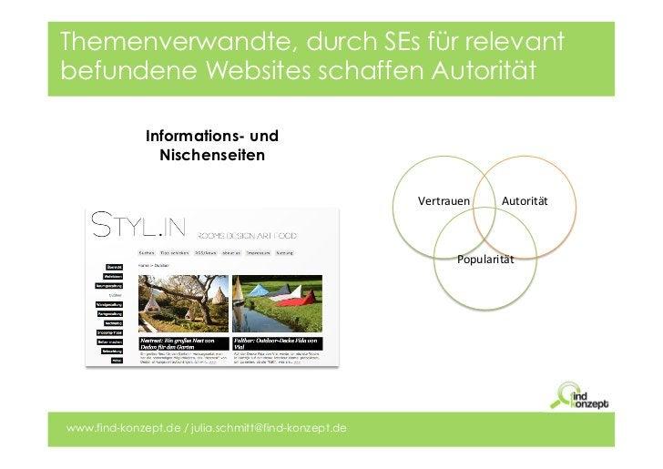 Themenverwandte, durch SEs für relevantbefundene Websites schaffen Autorität              Informations- und               ...