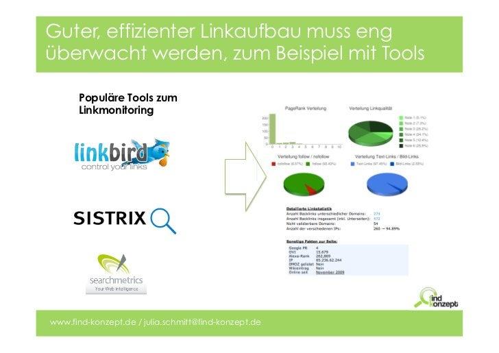 Guter, effizienter Linkaufbau muss engüberwacht werden, zum Beispiel mit Tools      Populäre Tools zum      Linkmonitoring...