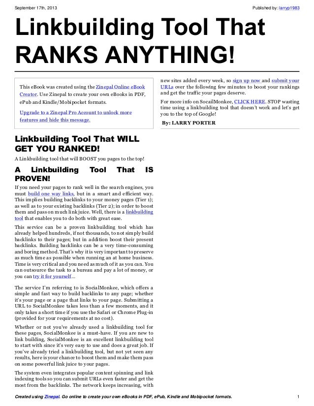 September 17th, 2013 Published by: larryp1983 Created using Zinepal. Go online to create your own eBooks in PDF, ePub, Kin...