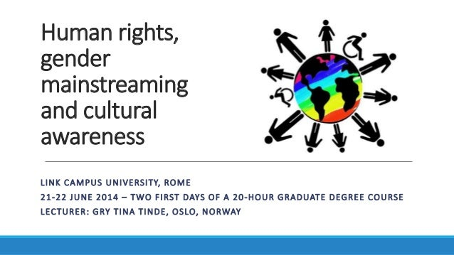 Human rights, gender mainstreaming and cultural awareness LINK CAMPUS UNIVERSITY, ROME 21-22 JUNE 2014 – TWO FIRST DAYS OF...