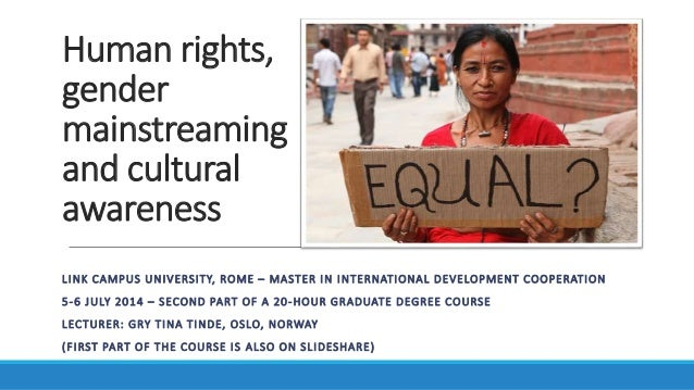 Human rights, gender mainstreaming and cultural awareness LINK CAMPUS UNIVERSITY, ROME – MASTER IN INTERNATIONAL DEVELOPME...