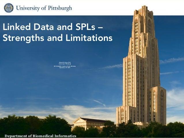 Linked Data and SPLs –  Strengths and Limitations  1 Biomedical Informatics  Richard D. Boyce, PhD  University of Pittsbur...