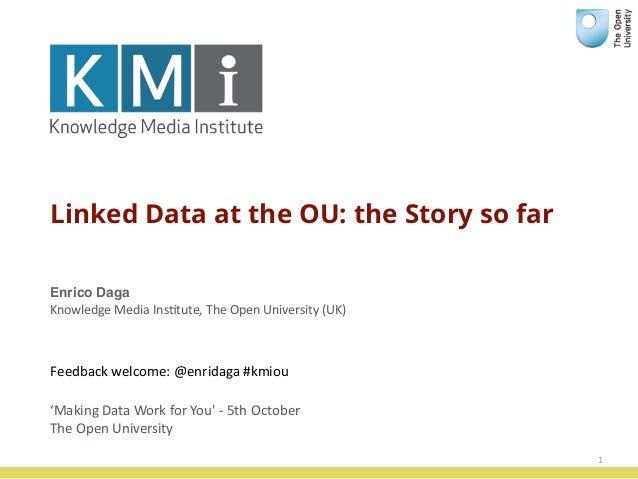 Linked Data at the OU: the Story so far 1 Enrico Daga     Knowledge  Media  Ins0tute,  The  Open  University...