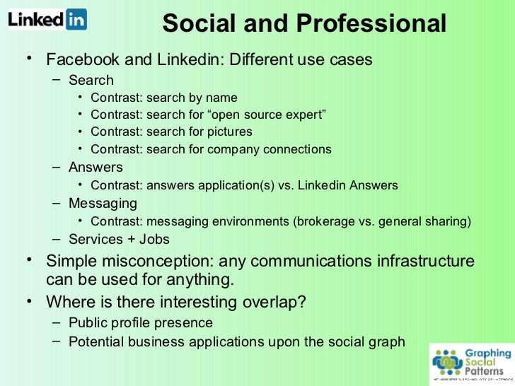Social and Professional <ul><li>Facebook and Linkedin: Different use cases </li></ul><ul><ul><li>Search </li></ul></ul><ul...