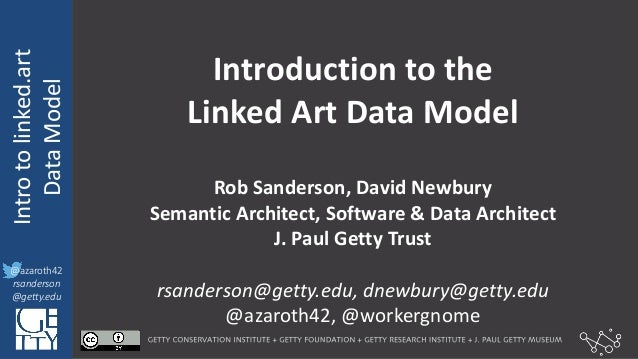 @azaroth42 rsanderson @getty.edu IIIF:  Interoperabilituy Intro  to  linked.art Data  Model   @azaroth42 rsander...