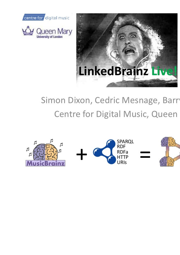 LinkedBrainz Live!                     LiveSimon Dixon, Cedric Mesnage, Barry Norton   Centre for Digital Music, Queen Mar...