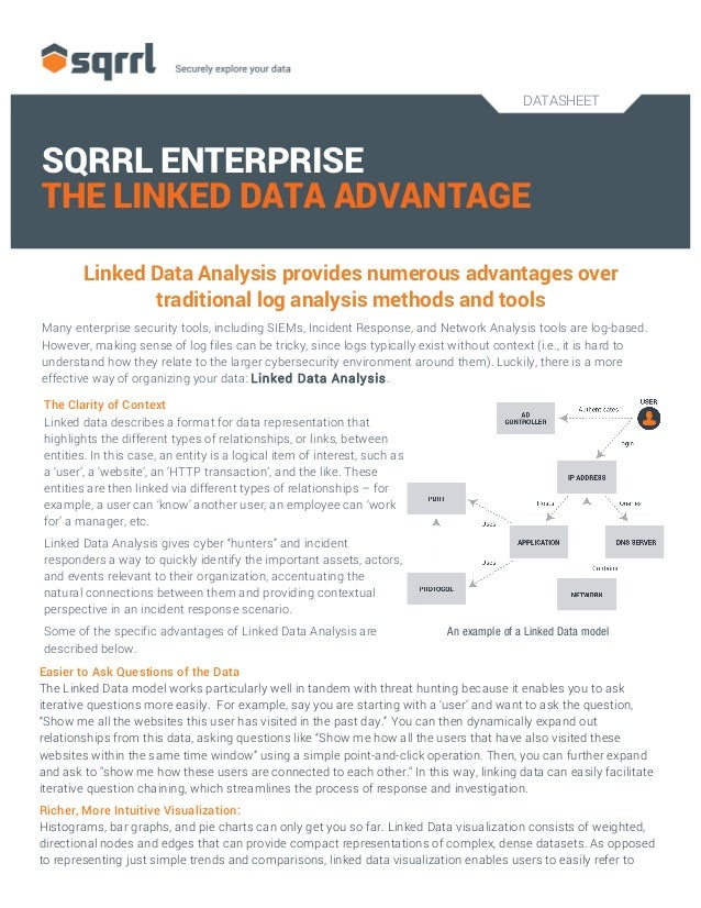 DATASHEET 	    SQRRL ENTERPRISE THE LINKED DATA ADVANTAGE Linked Data Analysis provides numerous advantages over tradition...