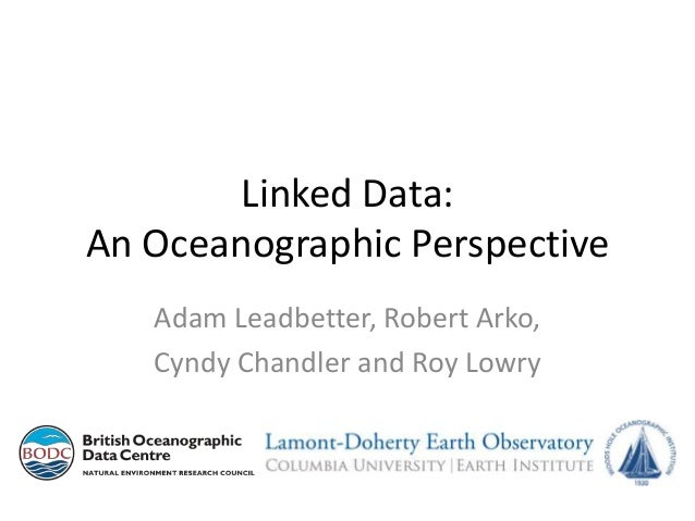 Linked Data: An Oceanographic Perspective Adam Leadbetter, Robert Arko, Cyndy Chandler and Roy Lowry