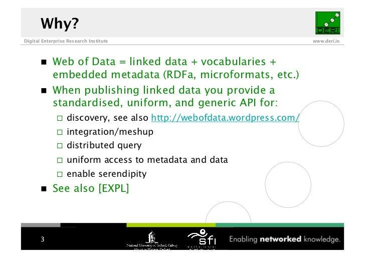 Why? Digital Enterprise Research Institute                                    www.deri.ie                 Web of Data = li...