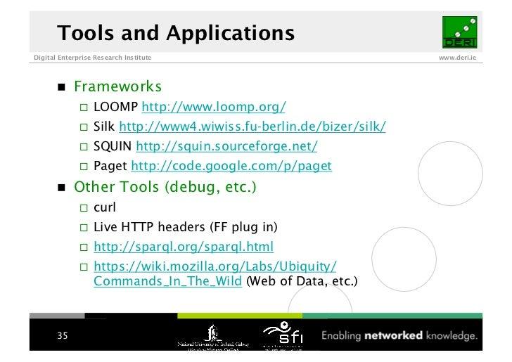 Tools and Applications Digital Enterprise Research Institute                                 www.deri.ie                 F...