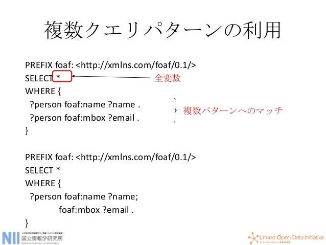 和(UNION) PREFIX foaf: <http://xmlns.com/foaf/0.1/> SELECT ?name ?mbox WHERE { { ?person foaf:name ?name; foaf:mbox ?mbox ....