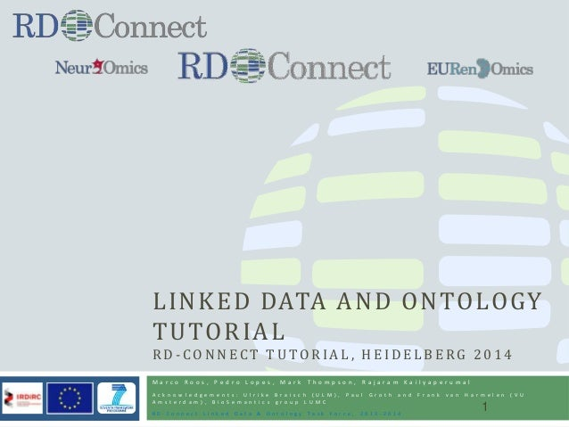 LINKED DATA AND ONTOLOGY TUTORIAL R D - C O N N E C T T U T O R I A L , H E I D E L B E RG 2 0 1 4 M a r c o R o o s , P e...