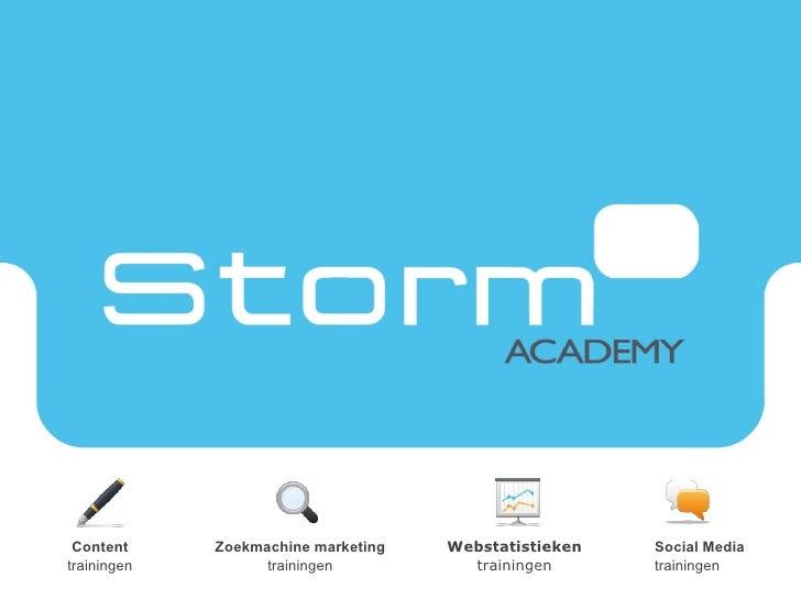 Content trainingen Zoekmachine marketing trainingen Webstatistieken trainingen Social Media trainingen