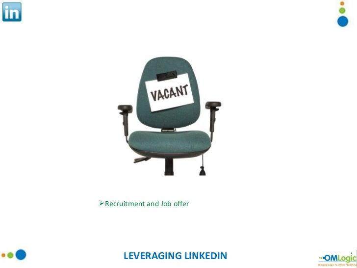 LEVERAGING LINKEDIN <ul><li>Recruitment and Job offer </li></ul>