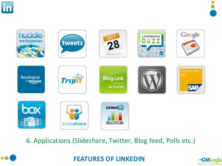 FEATURES OF LINKEDIN 6. Applications (Slideshare, Twitter, Blog feed, Polls etc.)