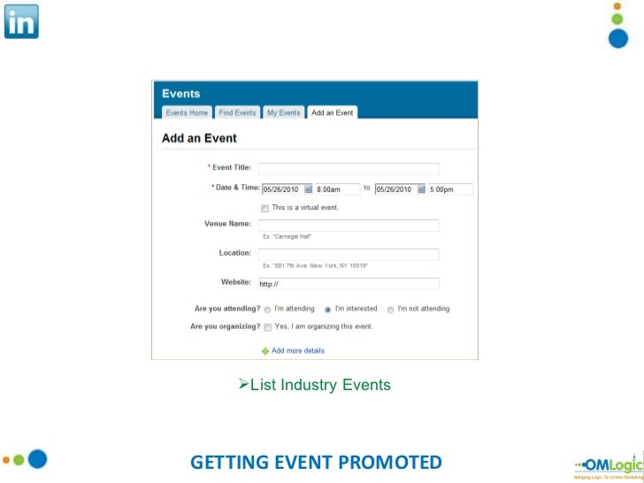 GETTING EVENT PROMOTED <ul><li>List Industry Events </li></ul>