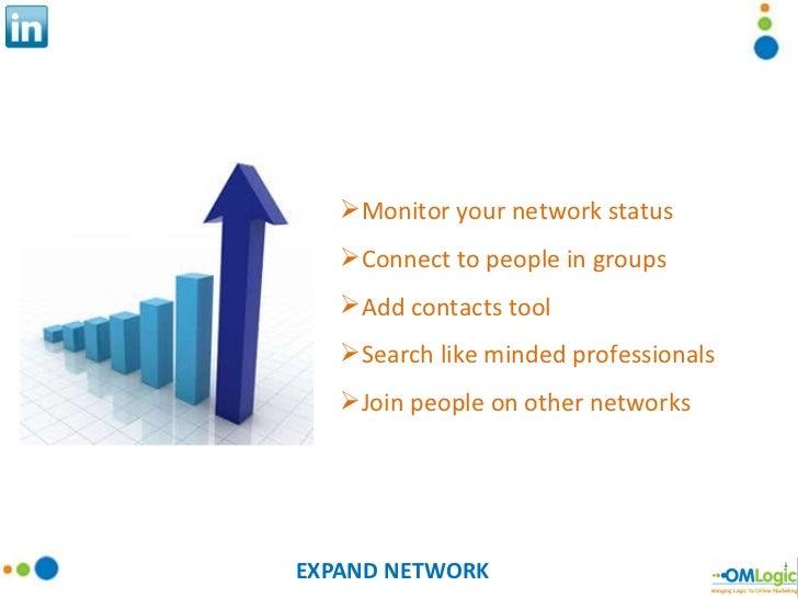 EXPAND NETWORK <ul><li>Monitor your network status </li></ul><ul><li>Connect to people in groups </li></ul><ul><li>Add con...